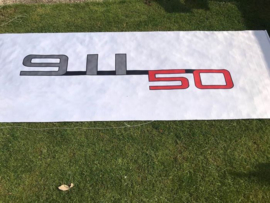 Porsche Bannière concessionnaire - 50 ans Porsche 911 logo