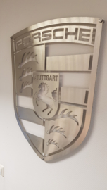 Porsche Logo of brushed stainless steel 70 x 55.6 cm