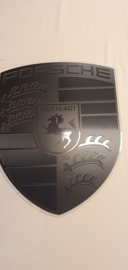 Porsche logo black on black look with carbon inlay 76cm by 60cm