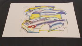 Porsche 911 996 Design study - 59 x 33 cm - Pinky Lai