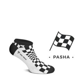 Porsche Pasha zwart/wit - HEEL TREAD Enkelsokken