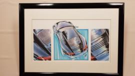 Porsche 996 Carrera drawing - framed