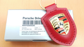 Porsche keychain with Porsche emblem - red