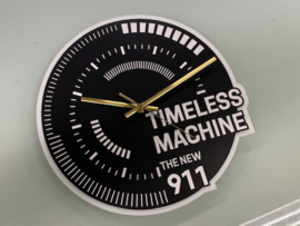 Porsche Timeless Machine Wall Clock - Black with White letters