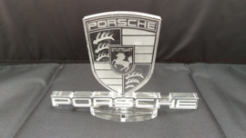 Porsche logo and name on foot of Plexiglas - Paperweight