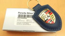 Porsche sleutelhanger met Porsche embleem - blauw