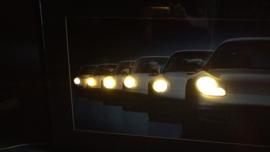 Porsche Generations 911 artwork framed with headlight lighting