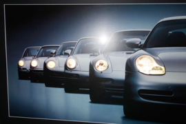 Porsche Generations 911 artwork framed with headlight lighting