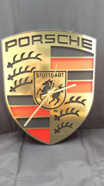 Porsche logo clock gold brushed look with carbon inlay