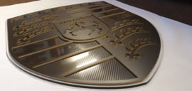 Porsche logo black on black look with carbon inlay 60cm by 47cm