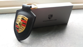 Porsche keychain with Porsche emblem - black