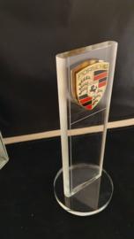 Porsche desktop cut glass pylon with logo - Porsche dealer edition