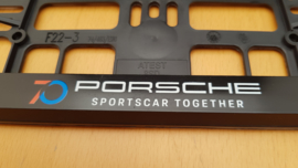 "Porsche license plate holder ""70 years anniversary"" - White"