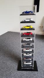 Porsche Vitrine pour modèles réduits de voitures à l'échelle 1:43 (10 pièces)