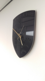 Porsche logo clock 'Black on Black' with carbon inlay