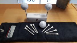 Porsche Golf afslag Tee + Porsche Golf handdoek + Set Porsche golfballen