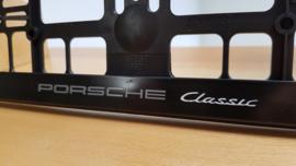 """Porsche Porte-plaque d'immatriculation """"Classic"""" - Lettres Gris / Blanches"""