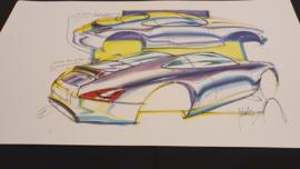 Porsche 911 996 Étude de conception - 59 x 33 cm - Pinky Lai