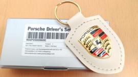 Porsche keychain with Porsche emblem - white