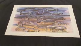 Porsche 986 Boxster étude de conception Collage  - 59 x 33 cm - Grant Larson