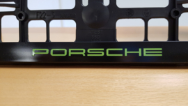 Porsche license plate holder Acid Green letters
