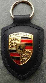 Porsche Schlüsselanhänger mit Porsche Emblem - Schwarz