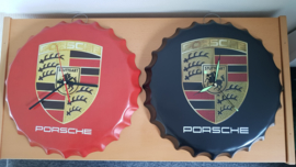Porsche crown cap clock - black and red