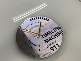 Porsche Timeless Machine Wall Clock - Silver with Black Letters