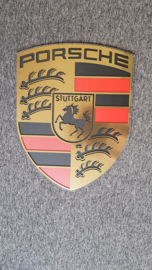 Porsche logo gold brushed look with carbon inlay 60 cm by 47 cm