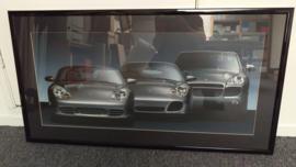 Porsche Generation 911 4S (996) Boxster S (986) und Cayenne Turbo Kunstwerk gerahmt mit Beleuchtung