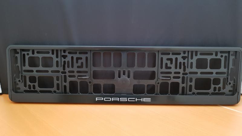 Porsche kentekenplaathouder - Grijze letters