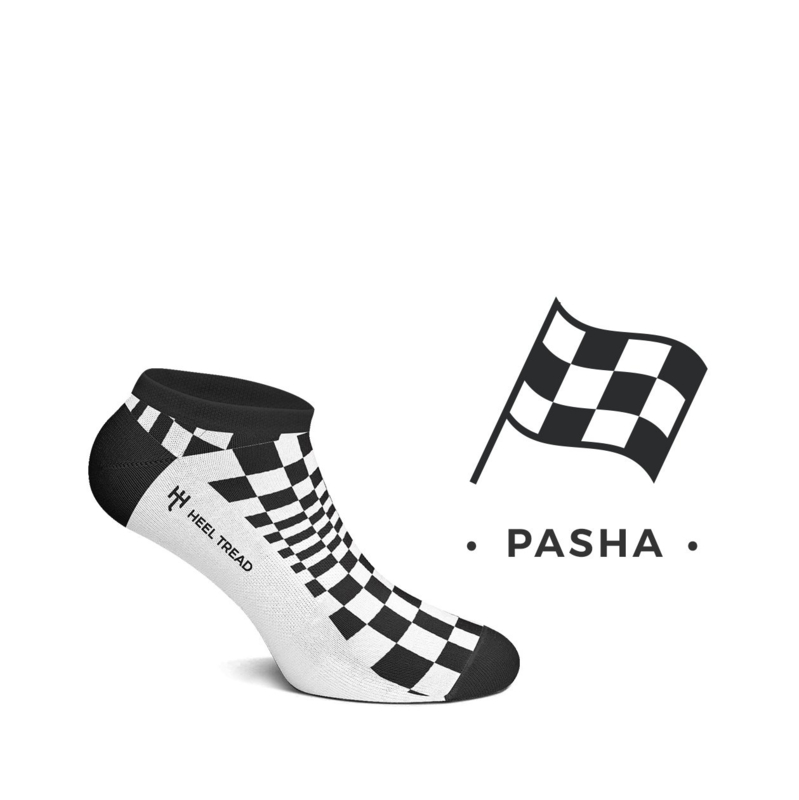 Porsche Pasha black/white - HEEL TREAD Low socks