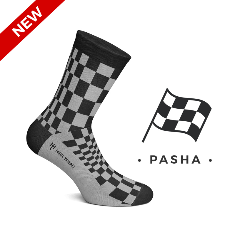 Porsche Pasha black/grey - HEEL TREAD Socks