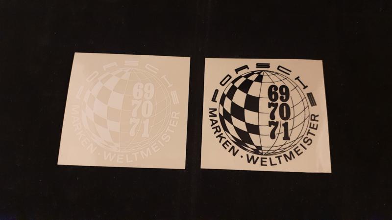 Porsche Fensteraufkleber Set - Porsche Marken Weltmeister 1969, 1970, 1971