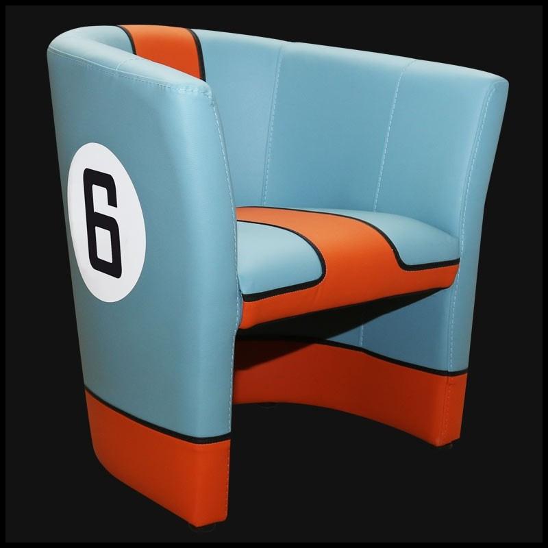 Porsche cabriolet chair Gulf n° 6 racing design