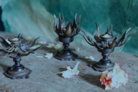 Lotuskandelaar, brons, Nepal