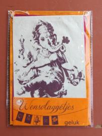 Wensvlaggetje 'Geluk', handgeschept papier, oranje