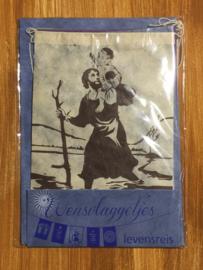 Wensvlaggetje 'Levensreis', handgeschept papier, lichtblauw