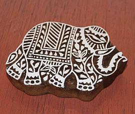 Handgesneden blokdrukstempel olifant - grote versie