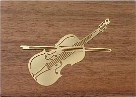 Muziekdoos met messing decoratie; Viool