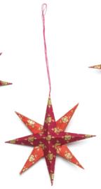Ster paars/ rood - opdruk goud - per 5 stuks