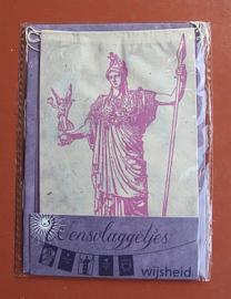 Wensvlaggetje 'Wijsheid', handgeschept papier, paars