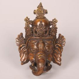 Ganesha hoofd met kroon, koper