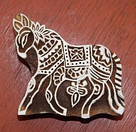 Handgesneden blokdrukstempel paard
