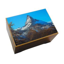 Muziekdoos met afbeelding kleurenfoto berg zwitserland
