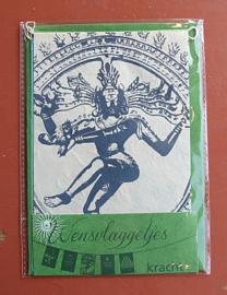 Wensvlaggetje 'Kracht', handgeschept papier, groen