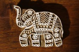Handgesneden blokdrukstempel olifant - kleine versie