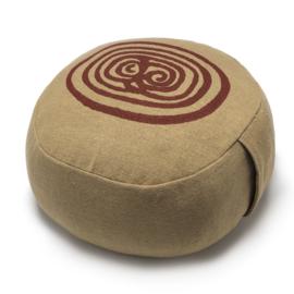 Yoga poef labyrinth, blokprint, khaki, handgeweven, Nepal