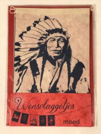Wensvlaggetje 'Moed', handgeschept papier NIEUW