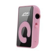 Mini MP3 speler met oortjes roze